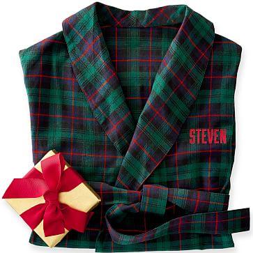 Men's Classic Robe, S-M, Green Plaid