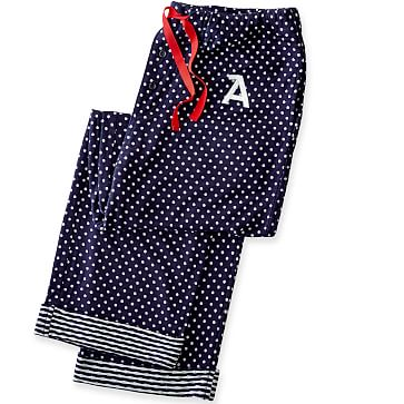 Women's Knit PJ Bottoms, Extra-Small, Navy Polka Dot