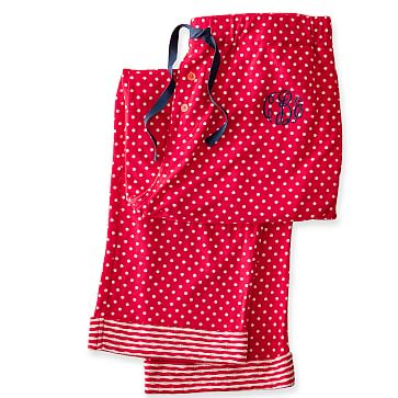 Women's Knit PJ Bottoms, Extra-Large, Red Polka Dot