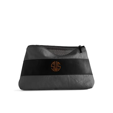 Canvas and Leather Cosmetics Bag, Large, Gray and Black
