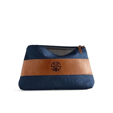 Canvas and Leather Cosmetics Bag, Large, Navy and Brown