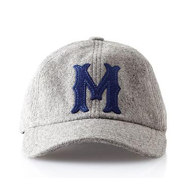 Wool Initial Baseball Ball Cap, Gray, M