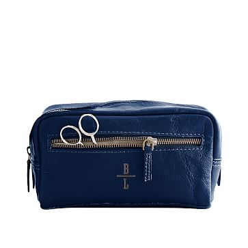 Everyday Leather Travel Pouch, Navy, Small - Personalized