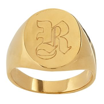 Classic Oval Signet Ring, Size 6, Gold-Plated