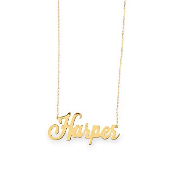 Ava Script Necklace, 14kt Solid Gold