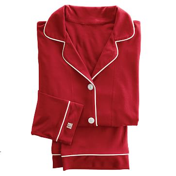 Classic Women's Knit Pajamas, Extra-Large, Red and Ivory