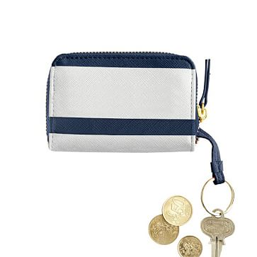 Mini Zip Wallet, Navy Stripe