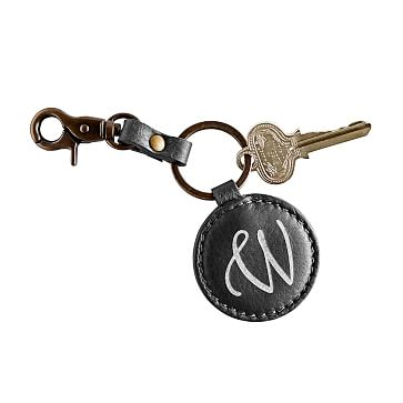 Circular Italian Leather Key Fob, Black