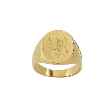 Classic Oval Signet Ring, Size 7, Gold-Plated