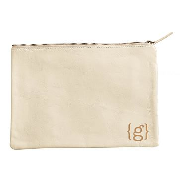 Everyday Leather Zip Pouch, Corner Monogram, Ivory - Personalized