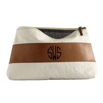 Canvas and Leather Cosmetics Bag, Large, Natural