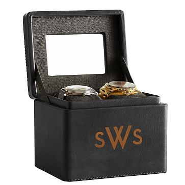 Rustic Leather 2-Slot Watch Box, Black