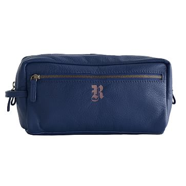 Everyday Leather Travel Pouch, Navy, Large - Personalized