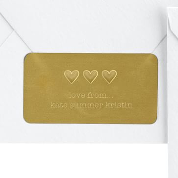 Desk Embosser with Plate, Rectangle, Love. Gold