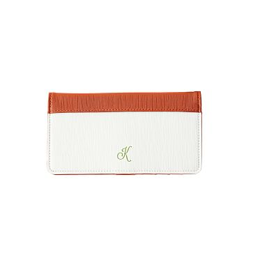 Colorfield Snap Wallet, White with Orange