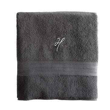 Turkish Hydro Cotton Bath Towel, Steel Gray - Monogrammed