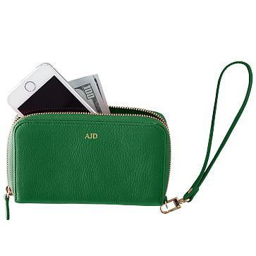 Leather Zip Wristlet Clutch Wallet, Green