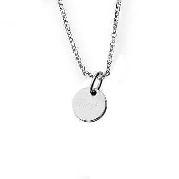The Legacy Necklace with Charm, 16-18 Inch Chain, Silver Circle, Small, Monogrammed