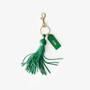 Leather Tassel Key Chain, Kelly Green