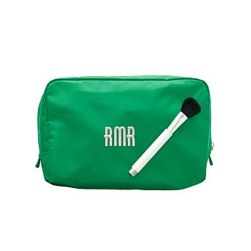 The Club Cosmetics Case, Large, Kelly Green with Magenta Lining