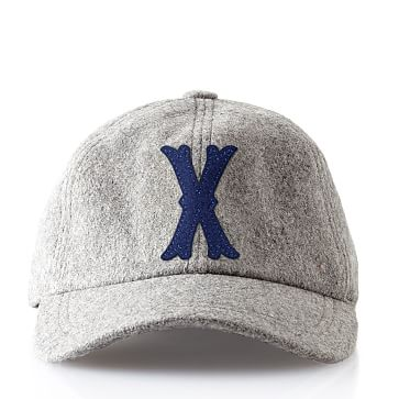 Wool Initial Baseball Ball Cap, Gray, X