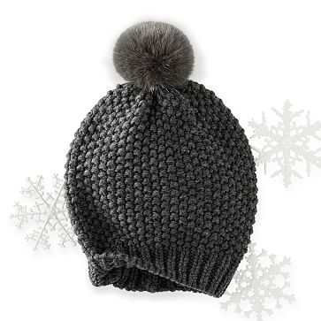 Chunky Knit Beanie with Fur, Charcoal