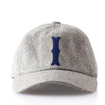 Wool Initial Baseball Ball Cap, Gray, I