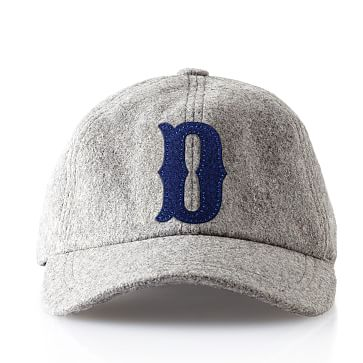 Wool Initial Baseball Ball Cap, Gray, D