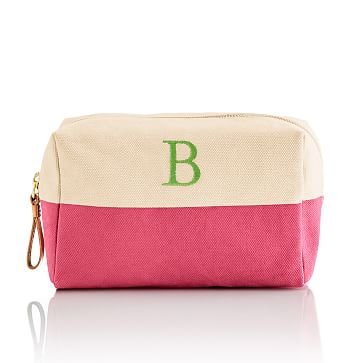Dipped Canvas Zip Pouch, Pink