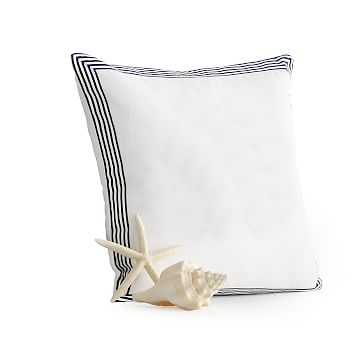 Beachport Stripe Pillow Cover, White with Navy Ribbon