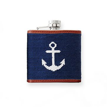 Needlepoint Flask, Anchor, Navy