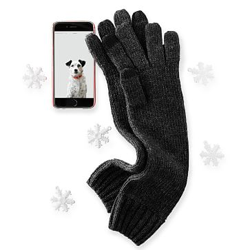 Chunky Knit Long Gloves One Size, Charcoal