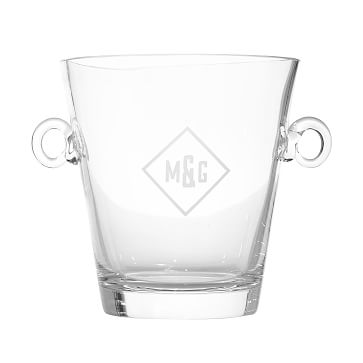 Classic Handblown Ice Bucket with Handles, Clear Glass - Monogrammed