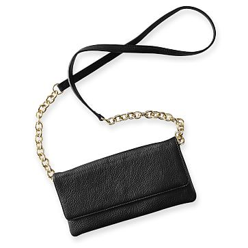 Leather and Chain Crossbody Bag, Black