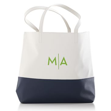 Colorfield Tote Bag, White with Navy