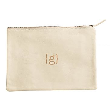 Everyday Leather Zip Pouch, Center Monogram, Ivory - Personalized