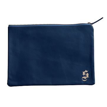 Everyday Leather Zip Pouch, Corner Monogram, Navy - Personalized