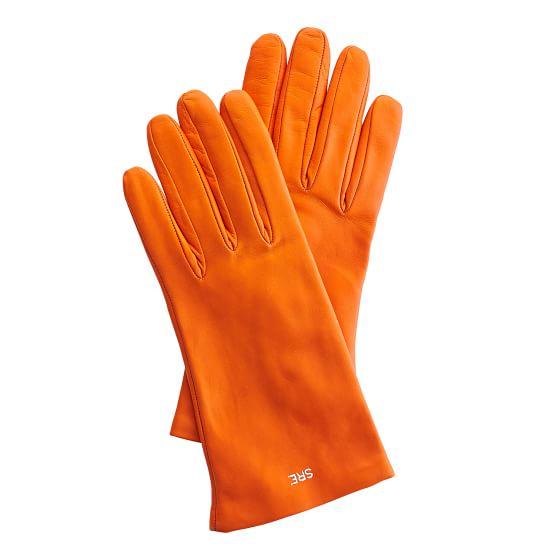 Women's Italian Leather Classic Glove, Size 6.5, Extra-Small, Orange