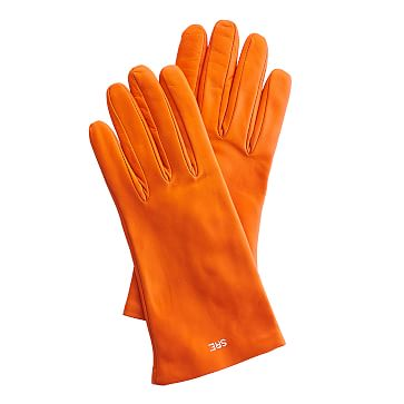 Women's Italian Leather Classic Glove, Size 6.5, Extra-Small, Orange