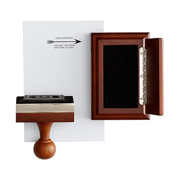 Wooden Stamp and Ink Pad, Rectangle, Black, Arrow