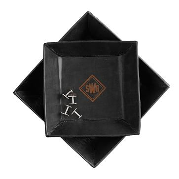 Rustic Leather Catchall, Set of 2, Small and Medium, Black