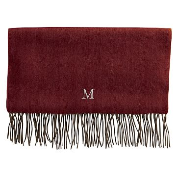 Cashmere Herringbone Scarf with Fringe, Camel with Red