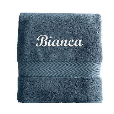 Turkish Hydro Cotton Bath Towel, Porcelain Blue - Personalized