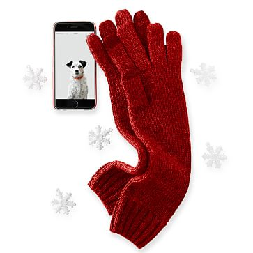 Chunky Knit Long Gloves One Size, Red