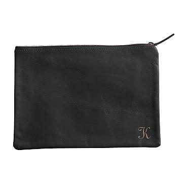 Everyday Leather Zip Pouch, Corner Monogram, Black