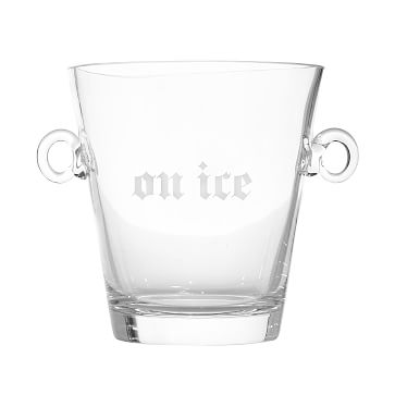 Classic Handblown Ice Bucket with Handles, Clear Glass - Personalized with 1 line