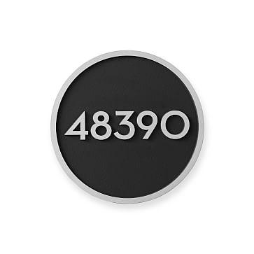 Aluminum Plaque, Solid Circle, 6 inches, Numerical, Black