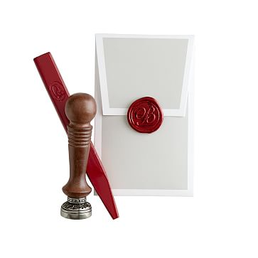 Initial Wax Seal with Bright Red Wax, U