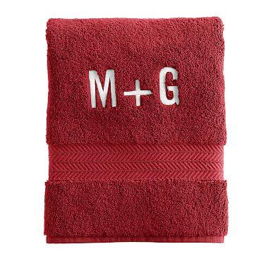 Turkish Hydro Cotton Hand Towel, Red - Monogrammed