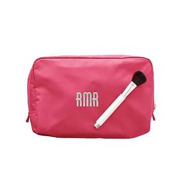 The Club Cosmetics Case, Large, Magenta with Kelly Green Lining